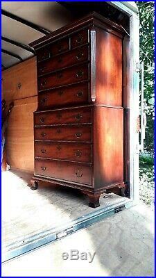 Vintage SOLID Mahogany Oxford KINDEL Chippendale Chest Of Drawers Dresser NICE