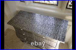 Vintage Shabby Chic Embossed Bowed 8 Drawer Chest Of Drawers Statement Piece