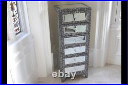 Vintage Shabby Chic Embossed & Mirrored Tallboy Chest Of Drawers Statement Piece