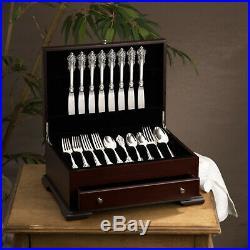 Vintage Silverware Kitchen Storage Box Home Flatware Drawer Chest Case Wood NEW