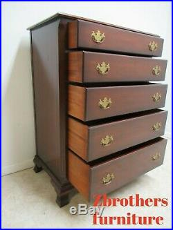 Vintage Solid Mahogany Kindel Oxford Dresser Chest Of Drawers Chippendale