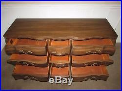 Vintage Union National Walnut Dresser, 9 Drawer Low Chest, French Style, Nutmeg