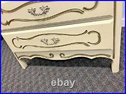 Vintage WOOD DRESSER French Provincial white gold Dixie shabby chest drawers 70s