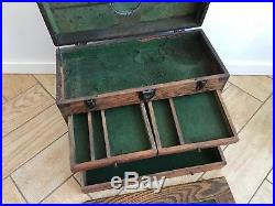 Vintage Wood Machinist Chest Tool Box Solid Oak 7 Drawers Leather Handle