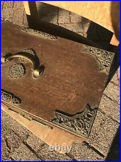 Vtg Japanese 4 Drawer Jewelry Chest / Box, Brass Pulls Blue Velvet Lining