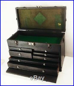 Vtg antique Gerstner leather wrap oak wood 20 7 drawer machinist tool box chest