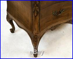 Walnut French Style bow front chest of drawers Bronze Handles Three Drawer