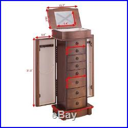 Walnut Wooden Armoire Jewelry Storage Organizer Drawers Stand Cabinet Chest Box