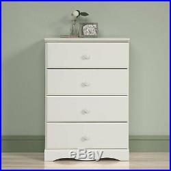 White 4 Drawer Wooden Dresser Chest Drawers Clothes Storage Bedroom Furniture