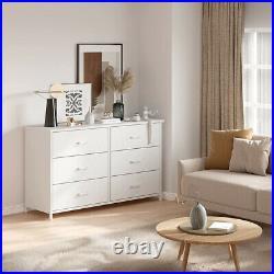White Dresser Chest 6 Drawers Furniture Bedroom Storage Organizer Wood Frame