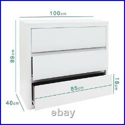 White High Gloss Chest of Drawers 3 Drawer Bedside Cabinet Bedroom Furniture