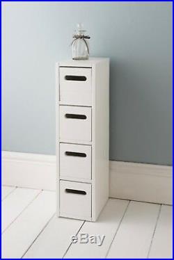 White Wooden 4 Drawer Chest Storage Cabinet Cupboard Free Standing Bathroom Unit