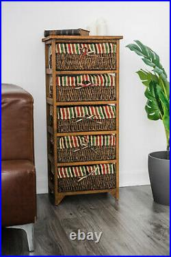 Wicker Basket Storage Unit Bedside Table Cabinet Chest Drawers Maize Shabby Chic