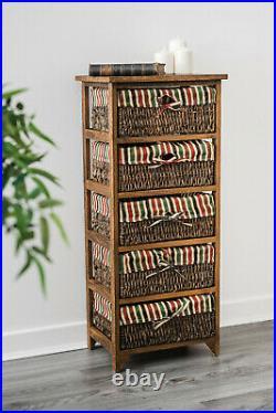 Wicker Basket Storage Unit Chic Bedside Cabinet Chest Drawer Maize Wood Bedroom
