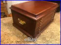 Wood Coin Display Box Chest Holds100 Coins 6 Drawers Mahogany very nice