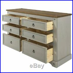 Wood Dresser 3+3 Drawers Chest Corona Gray Furniture Dash