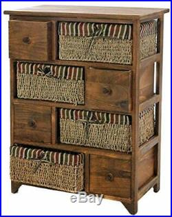 Wood Wicker Bedside Maize Cabinet Unit Retro Drawer Storage Chest Hallway Unit