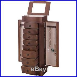 Wooden Jewelry Cabinet Armoire Box Chest Mirror Ring 8 Drawer Necklace Organizer