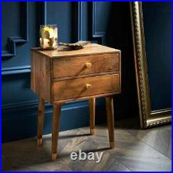 Wooden Nightstand Bedside Table 2 Drawers Side Cabinet Storage Chest Mango Wood