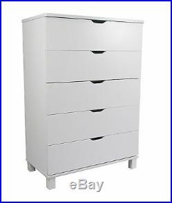 Y1106 Smart Home White Utility Clothing Organizer Storage 5 Drawer Chest Dresser