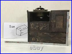 Y1591 TANSU Chest of Drawers mulberry tamamoku tobacco Japanese antique Japan