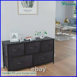 YITAHOME 5 Drawers Dresser Bedroom Brown Shelf Organizer Chest Cabinet Wide Bins