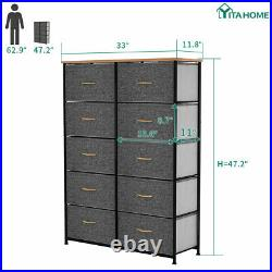 YITAHOME Storage 10 Drawers Dresser Fabric Bedside Organizer Tower Chest Room