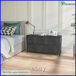 YITAHOME Wide Bedroom Dresser 5 Drawers Shelf Organizer Black Chest Cabinet Bins